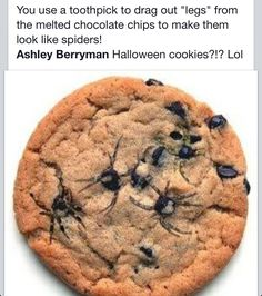 "a spooky treat. use a toothpick to drag the ""spider legs"" onto the cookie"