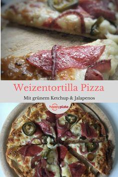 Weizentortilla – Pizza mit Jalapenos und grünem Tomatenketchup