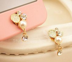 1PC Bling Crystal Pearl w/Dangling Crystal Apple iPhone Home Button Sticker, Cell Phone Charm for iPhone 5,4,4g,4s. $4.88, via Etsy.