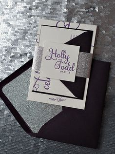 Dark Purple & Silver Glitter Calligraphy Letterpress Wedding Invitations - SAMPLE! http://justinviteme.com/collections/samples-1/products/adele-suite-sample
