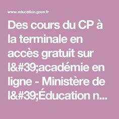 Des cours du CP à la terminale en accès gratuit sur l'académie en ligne - Ministère de l'Éducation nationale, de l'Enseignement supérieur et de la Recherche