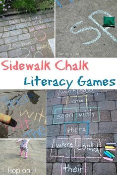 Playful early literacy games with sidewalk chalk - for letters, sight words and more! Make practice fun outside of school! Classroom Games, Early Literacy, Literacy Activities, Preschool Activities, Kindergarten Fun, Outdoor Classroom, Language Activities, Outdoor Activities, Preschool Sight Words