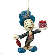 A21434 Jiminy Cricket Hanging Ornament- This Christmas tree hanging ornament features Jiminy Cricket from the animated film, Pinocchio #christmas #jimshore #disney