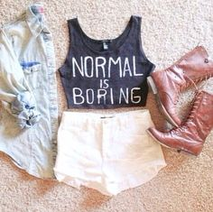 Normal is boring graphic tee - graphic tee - t shirt - graphic t shirt - spring fashion - spring style - spring outfit - summer fashion - summer style - summer outfit Cute Fashion, Look Fashion, Teen Fashion, Fashion Outfits, Fashion Trends, Fashion Pics, Hipster Fashion, Fashion Styles, Moda Outfits