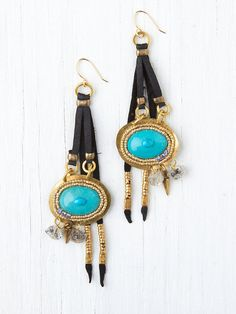 De Petra Leather and Stone Drop Earrings http://www.freepeople.com/whats-new/leather-and-stone-drop-earrings/