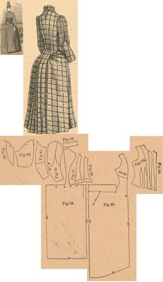 Der Bazar 1889: Blue and brown checked woollen travelling dress; 33. and 34. bodice's front insertion, 35., 36. and 37 side gores, 38. back part in half size, 39. collar in half size, 40. and 41. sleeve parts, 42. and 43. sleeve's upper lapel