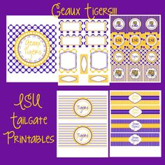 LSU Sports Gameday Tailgate Party Package by allisonpowelldesigns. , via Etsy.