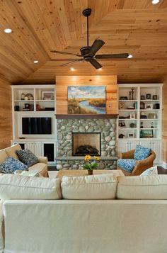 River Rock Fireplace. River Rock Living Room Fireplace. #RiverRockFireplace #RiverRock #FireplaceBlue Sky Building Company.