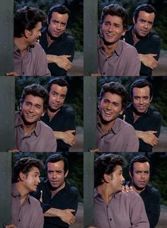 Joe and Adam eavesdropping on Hoss as he gives dancing lessons to a friend. From The Scapegoat (Bonanza)
