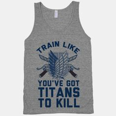 Grab your three dimensional maneuver gear and hit the gym; it's time to get fit and train and run. - Love their tees! Attack On Titan, Otaku, Anime Merchandise, Geek Out, Geek Chic, Anime Manga, Cool Stuff, Stuff To Buy, Tank Man
