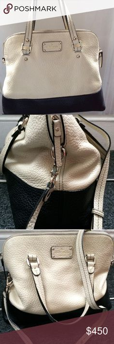 Kate Spade White and Black Handbag with removable shoulder strap. Gorgeous. bag, pebbled leather. Super chic and roomy. kate spade Bags Satchels