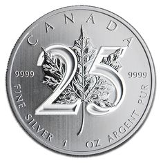 Canadian Silber Maple Leaf 25th Anniversary Obverse