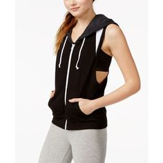 Jessica Simpson The Warm Up Hoodie Vest, ($30) ❤ liked on Polyvore featuring outerwear, vests, jet black, black hooded vest, hooded vest, jessica simpson vest, black vest and vest waistcoat
