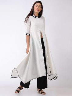 Ivory-Black Ikat Matka Cotton Kurta with Asymmetrical Hem