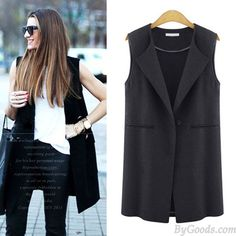 New Autumn Fashion Solid Brief Lapel Sleeveless One Buckle Waistcoat only $31.99…