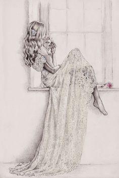 Pergamino y Pixel ilustración de Anna Campbell vestido 'Eloise'