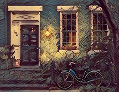 Bicycles in front of old house (Fauvism style). Bicicletas frente a casa antigua (estilo Fauvismo). #fauvism #fauvismo #bicleta #bicycle #bicycles #casa #casas #house #houses #casasantigua #casaantiguas #oldhouse #oldhouses #vintage #vintages #art #arts #arte #artes #painting #paintings #paintwork #paintworks #picture #pictures #pintura #pinturas Fauvism, Old Houses, Bicycle, Paintings, Vintage, Style, Digital Art, Bicycles, Antigua