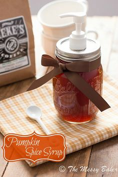 Homemade Pumpkin Spice Syrup  www.themessybakerblog.com - This syrup can be used for more than just cawfee. Add it to maple syrup to jazz up your pancakes. Swirl it in tea. Drizzle it over vanilla ice cream. Stir it in your morning oatmeal. Spoon it over some roasted figs.