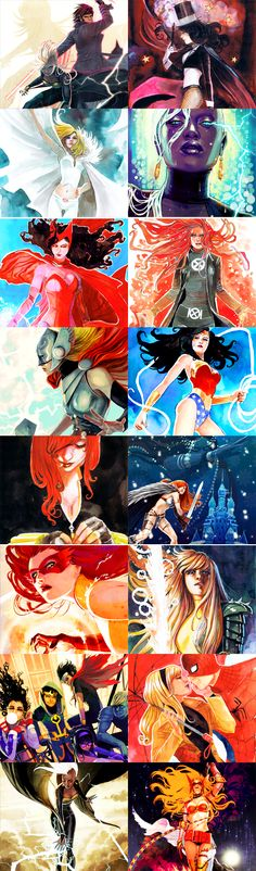 Favorite Comic Book Artists » Stephanie Hans  Featured characters: Storm, Gambit, Zatanna, Emma Frost, Scarlet Witch, Jean Grey, Thor, Wonder Woman, Black Widow, Red Sonja, Firestar, Magik, Young Avengers, Gwen Stacy, Spider-Man, Angela