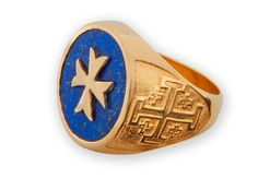 Lapis Mans Ring Maltese Cross Overlaid Regnas Gold by Regnas