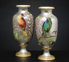 c1880 A PAIR OF FRENCH ORNITHOLOGICAL PLATINUM-GROUND VASES CIRCA 1880, IMPRESSED B & CIE MARK, BROWN PAINTED RETAILER'S MARKS FOR CALDWELL OF PHILADELPHIA, SIGNED N. VIVIEN Price realised USD 3,250 Brown Paint, Hand Painted Wine Glasses, Painted Vases, Japanese Porcelain, Mark Brown, Pottery Painting, Porcelain Vase, Vases Decor, Ceramic Art