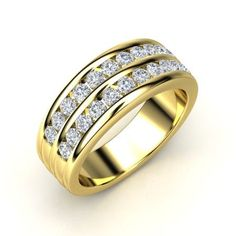 The Double Crown Band customized in diamond and yellow gold. #mens #rings