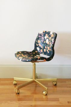 This is the most incredible Ikea hack I've ever seen. Fabric, mod podge & spray paint can work a miracle on a $20 plastic chair!