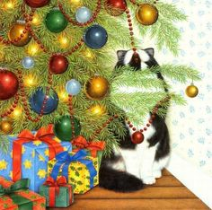 Christmas tree and cat by Anne Mortimer