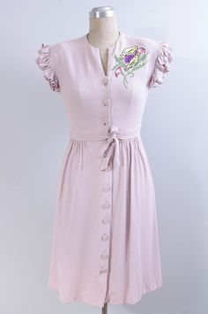 Vintage 1940s Lilac Embroidered Dress // by DeerfieldVintage