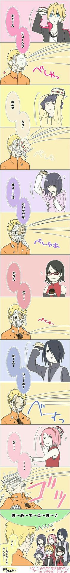 Happy Birthday Naruto, Boruto, Himawari, Hinata, Sasuke, Sakura, Sarada, Uzumaki family, Uchiha family, funny, text, comic, cake; Naruto