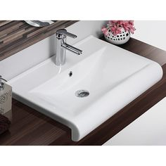 Bathroom Sink, CeraStyle 061500 U, Rectangle White Ceramic Wall Mounted Or  Semi Recessed