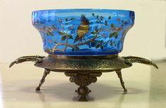19thC RARE Art Glass Brides Bowl Basket Punch