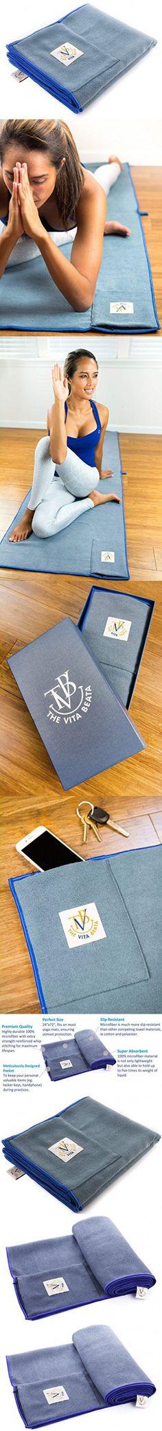 "Luxurious Hot Yoga Towel by TVB - Microfiber Yoga Mat Towel with Zipper Pocket and Gift Box, Non Slip with Grip, Skidless - Ideal Bikram Yoga Towel, Ashtanga, Vinyasa - Super Absorbent (24""X72"")"