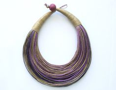<3 Shades of Purple and Natural Statement Necklace by superlittlecute, $55.00