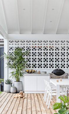 Captured // Cronulla Build by Ben Richardson Building — the palm co. Backyard Sheds, Backyard Patio, Outdoor Rooms, Outdoor Living, Outdoor Ideas, Ibiza, Breeze Block Wall, Outdoor Cabana, Bbq Area