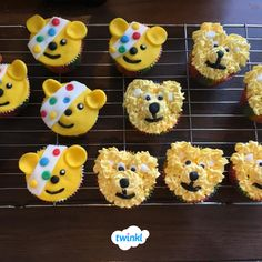 """🐻 Gorgeous Pudsey cupcakes for Children in Need. Andrea's cupcakes are perfect to raise awareness for Children in Need in a fun and delicious way. Try making your own Pudsey inspired cupcakes with the help of our """"Design a spotty cake activity sheet"""" 🎂 Children In Need Cakes, Macmillan Coffee Morning, Bear Cupcakes, Make Your Own, How To Make, Activity Sheets, Charity Event, Fundraising, The Help"""