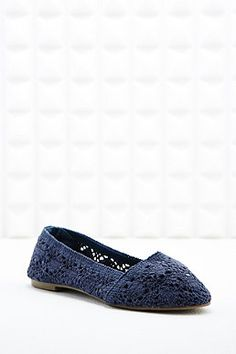 Shop Deena & Ozzy Grace Crochet Slip-on Pumps in Indigo at Urban Outfitters today. Urban Outfitters Women, Slip On Pumps, Shoe Collection, Indigo, Trainers, Shoe Boots, Loafers, Flats