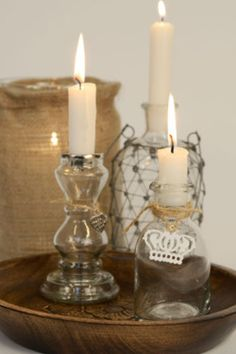 Candles from Gypsy Purple home. Home Candles, Candle Lanterns, Diy Candles, Flickering Candle, Candle Lighting, Chandeliers, Candle In The Wind, Purple Home, Bottles And Jars