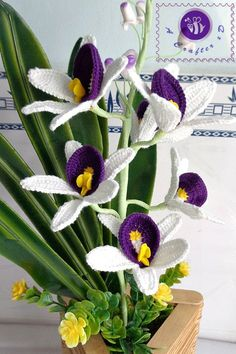 Crocheted realistic orchid flower twig ( purple ) - free worldwide shipping - pinned by pin4etsy.com