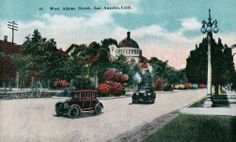 A vintage West Adams Boulevard postcard with a sloppy use of colors. The domed building in the back was the Second Church of Christ Scientists located at 946 West Adams. The church was built in 1910, so this unusual postcard was probably issued shortly afterwards. (Bizarre Los Angeles)