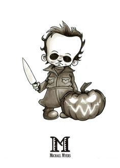 M is for Michael Myers (alternative) by Disezno Creepy Art, Creepy Dolls, Drawing Cartoon Characters, Cartoon Drawings, Micheal Myers Tattoo, Voodoo Doll Tattoo, Horror Cartoon, Halloween Cups, Horror Drawing