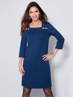 Vestido mujer con botones metálicos en escote de punto milano
