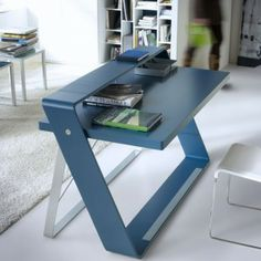 Chic Unique And Wonderful Stylish Desk Detail of Contemporary Home Office Design Idea In Beautiful Blue color Space Saving Furniture, Furniture Decor, Home Office Design, Office Decor, Computer Desk Design, Interior Design Gallery, Kids Study, Home Desk, Clever Design