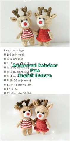Amigurumi reindeer free crochet pattern, This article is waiting for you. We always keep you up to date with the most current amigurumi toy patterns. Crochet Deer, Crochet Santa, Christmas Crochet Patterns, Crochet Christmas Ornaments, Crochet Patterns For Beginners, Christmas Knitting, Crochet Patterns Amigurumi, Crochet Dolls, Free Crochet