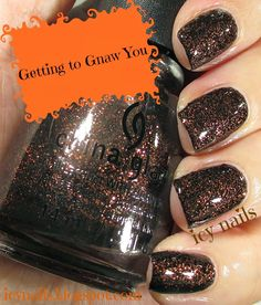 Icy Nails: China Glaze Apocalypse of Colour Collection for Hallowe'en, 2014: Swatches, Photographs and Review. Getting to Gnaw You.