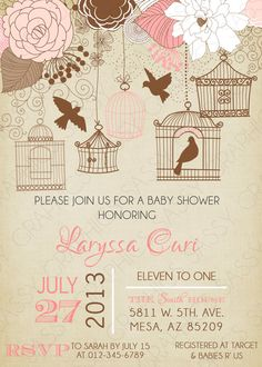 Girls Baby Shower Invitation Bird Cage by SassyGraphicsDesigns Baby Girl Shower Themes, Baby Shower Invites For Girl, Bridal Shower Invitations, Baby Boy Shower, Birthday Invitations, Baby Showers, Baby Shower Background, Baby Bash, Pink Bird