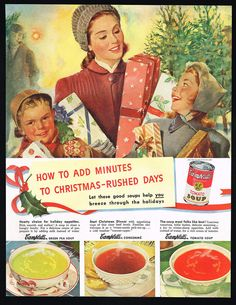1948 Campbell's Soup Christmas Tree Lot Mother Children Vintage Print Ad