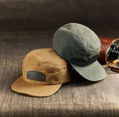 "filson: "" Constructed from rain-repellent Tin Cloth, these Caps are ready for years of use. Summer Cap, Men Summer, Five Panel Hat, Rugged Style, Leather Notebook, Mens Caps, Hats For Men, Caps Hats, Outdoor Gear"