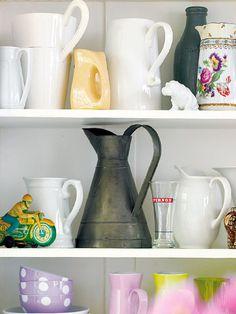 vintage jug display - nice idea