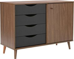 Buy Hygena Berkeley 1 Door 4 Dwr Small Sideboard - Black/Walnut at Argos.co.uk, visit Argos.co.uk to shop online for Sideboards and chest of drawers, Limited stock Home and garden, Coffee tables, sideboards and display units, Sideboards and dressers, Sideboards and dressers